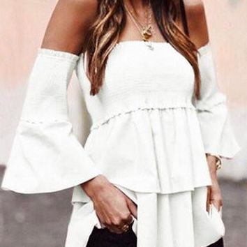 White Off Shoulder Layered 3/4 Sleeve Smocked Top