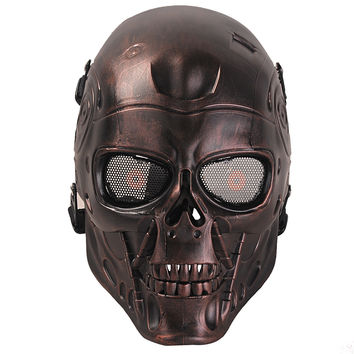 COXEER CS Skull Skeleton Full Face Mask Tactical Paintball Airsoft Protect Safety Horror Mask Halloween Cosplay Dress Mask