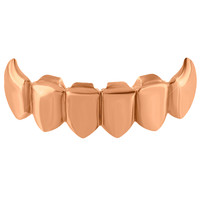 Top Mouth Teeth Grillz Caps Rose Gold Finish Hip Hop Mens Rapper Wear