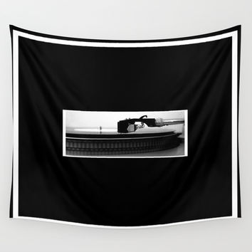 Record Player Wall Tapestry by Derek Delacroix