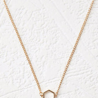 Stationed Hexagon Charm Necklace
