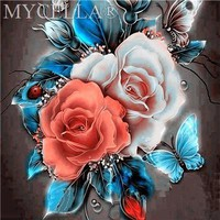 5D Diamond Painting Blush Roses and Butterflies Kit