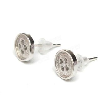Silver Plated Round Button Ear Stud Earrings