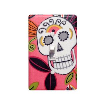 Day of the Dead Sugar Skull Light Switch Plate Cover / Kitchen / Jardin De Los Muertos / Alexander Henry