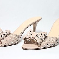 Authentic Kate Spade Nude Beige Peep Toe Sandal Kitten Heels US Size 10 Bow