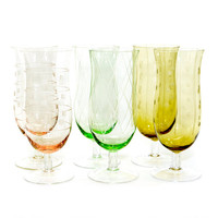 Etched Hurricane Goblets (6) - Very Thin Glass, Hand Blown - Mod Diamond Stripe & Polka Dot Designs - Vintage Kitchen Serving Barware