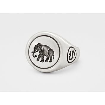 Elephant Signet Ring in Sterling Silver