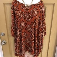 Lularoe Orange Geometrical Design Shirt Top Blouse Size 3XL