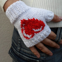 Heart Gloves, Christmas gifts, Xmas gifts, White red  heart, hypoallergenic, Ready to ship, winter outfit, wrist warmer, Bamboo cotton .