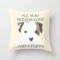 Love and a puppy Throw Pillow by Veronica Ventress | Society6