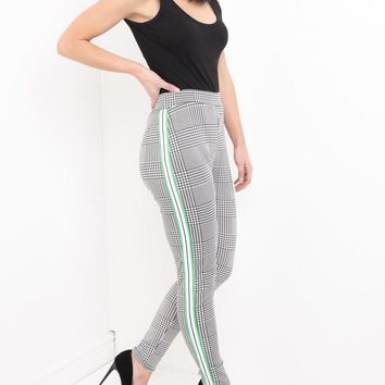 Multi Check Trousers w/Side Stripe