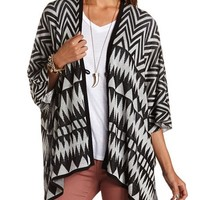 Buttoned Aztec Cardi Poncho: Charlotte Russe