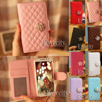 Luxury Deluxe Grid Wallet Leather Case Cover For Samsung GALAXY SIV S4 i9500 NEW