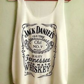 T-shirt Jack Daniels Tennessee Whiskey Tank Top Ladies Sexy Women Size S M Cream