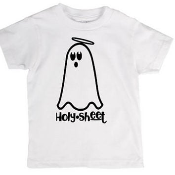 Holy sheet toddler kids shirt, Halloween, ghost, crazy, holiday pun, pun, halloween costume, joke, funny shirt, bad joke, toddler, child