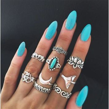 LMFCE6 Jewelry Shiny Gift New Arrival Stylish Strong Character Vintage Totem Turquoise Mermaid Ring [11790882191]