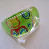Vintage 90s Bubble Ring Lucite in Lime Green and Rainbow colors Clear
