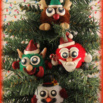 Random Polymer Clay Christmas Figurines - Cute Whimsical Collectible FuzzyKims