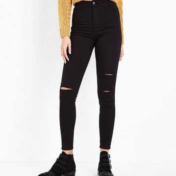 Black Super High Waist Super Skinny Ripped Knee Hallie Jeans | New Look