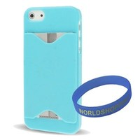 Iwotou Light Blue ID/ Credit Card Holder Hard Case Back Cover for Apple iphone 5/ 5S + Free Accessories