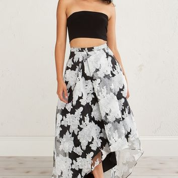 Floral See Through High Low Skirt