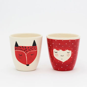 Set of 2 - Handmade ceramic cup - Fox ceramic cup - coffee cup - fox illustration - serveware - tableware - gift idea - MADE TO ORDER