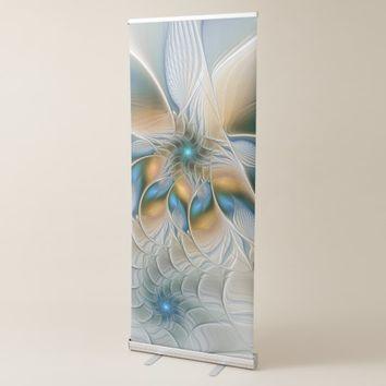 Soaring, Abstract Fantasy Fractal Art With Blue Retractable Banner
