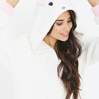 FOREVER 21 Bunny-Hood Plush PJ Onesuit Cream/Pink