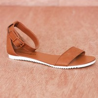 Breckelles Flattery And Fashion Open Toe Ankle Strap Flat  Sandals Joy-23 - Tan