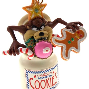 Tasmanian Devil Cookie Jar Christmas Tree Ornament Looney Tunes in Box