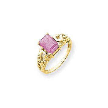 14k Yellow Gold 8x6mm Emerald Cut Pink Tourmaline Ring