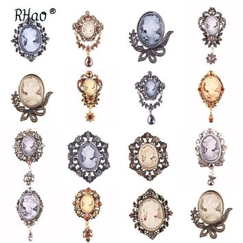 RHao Vintage Silver Water Drop Brooches for women wedding party jewelry Elegant Beauty Cameo Brooch Christmas brooch gift
