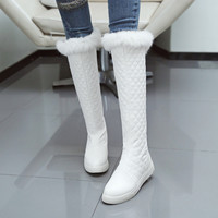 Embossed Leather women boots Casual style Round Toe flats boots Solid winter warm Snow Boots size 34-43 Knee-High boots