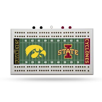 IOWA VS. IOWA ST FIELD CRIBBAGE BOARD