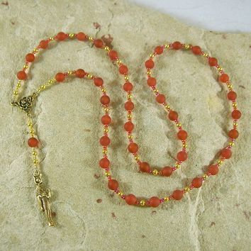 Hathor Prayer Bead Necklace in Red Carnelian: Egyptian Goddess of Love, Joy and Beauty