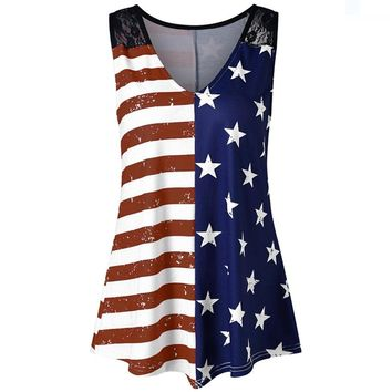 Big Promotions! Tootu Fashion Women American Flag Print Lace Insert V-Neck Tank Tops Shirt Blouse