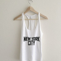 New York City Dirty Vintage Lennon Typography Racerback Tank Top