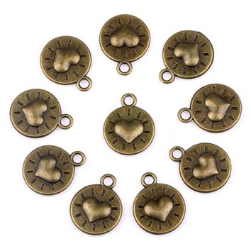20 Pieces Reversible Happy Sun Heart Lucky Charms Findings for Jewelry Pendant Necklace Making 18mm