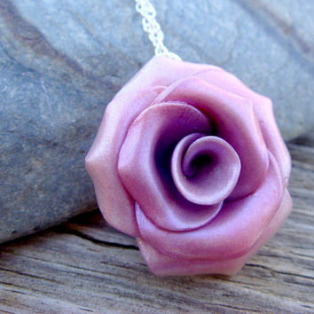 Rose Necklace  Pink and Purple Polymer Clay and by JustClayin