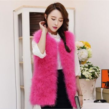 2017 Fashion Spring Women Ostrich Fur Vest Waistcoat Short Medium Long Warm Faux Fur Vest Pink Fur Coat Sleeveless Fur Jacket