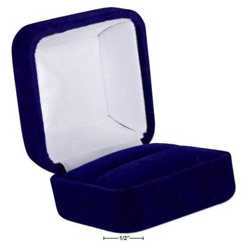 "DELUXE BLUE VELVET RING BOX 1 7/8"" x 1.75"" x 1 3/8"
