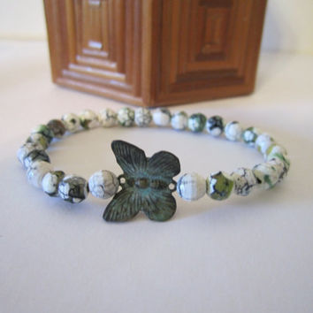 Stretch Bracelet - Fire Agate with Butterfly by 636designs