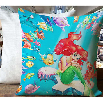 Airel Mermaid and Many Fish - Housewares , Home Decor , Pillow Case One Side / Two Sides Design