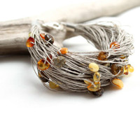 Multicolor Baltic Amber Bracelet Organic Zen Natural Fashion Spring Minimalist Jewelry Earthy Honey Warm Eco Style bright colors