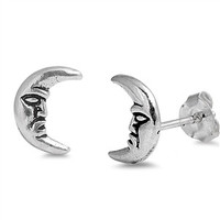 Sterling Silver Quarter Moon Face Stud Earrings 9MM
