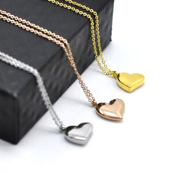 FYSARA New Simple Cute Smooth Small Heart Pendant Necklace for Women Jewelry Stainless Steel Gold-Color Love Necklace Lover
