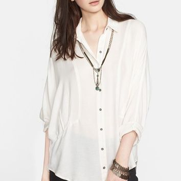 Women's Free People 'True Affection' Herringbone Button Front Shirt,