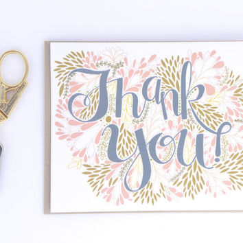 Whimsical Thank You Card - Hand Lettered