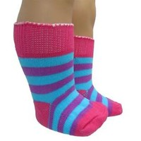 Doll Clothes Socks Hot Pink, Aqua & Purple Stripes fit 18 inch American Girl