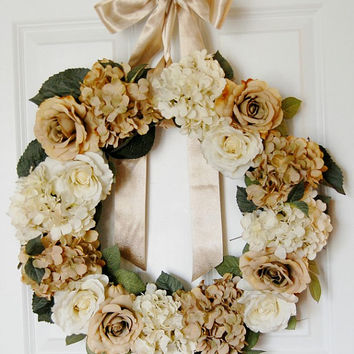 Rose and Hydrangea Wreath, Front Door Wreath, Winter Wreath, Spring Wreath, Wedding, Indoor Wreath, Neutral Wreath